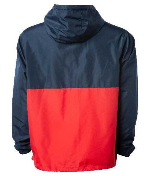 Back of a red and navy blue pullover windbreaker with a hood and elastic cuffs.