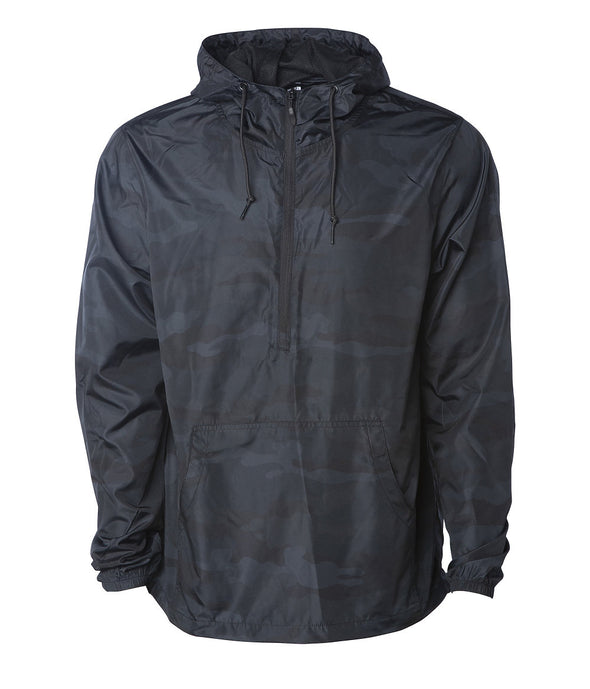 Front of a black camouflage pullover windbreaker with a half zipper, hood, and elastic cuffs.