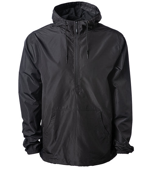 Front of a black pullover windbreaker with a half zipper, hood, and elastic cuffs.