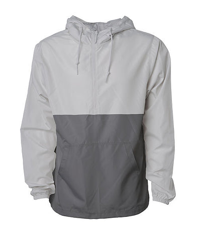 Front of a gray and dark gray pullover windbreaker with a half zipper, hood, and elastic cuffs.