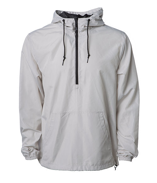 Front of a light gray pullover windbreaker with a half zipper, hood, and elastic cuffs.