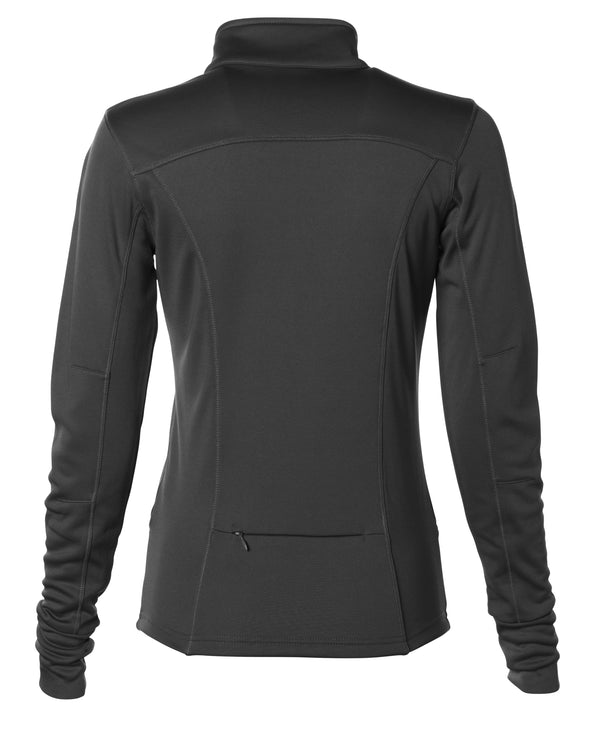 Back of black yoga jacket with a zipper stash pocket.