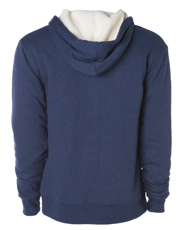 Back of a navy blue zip up sherpa lined hoodie with two drawstrings.