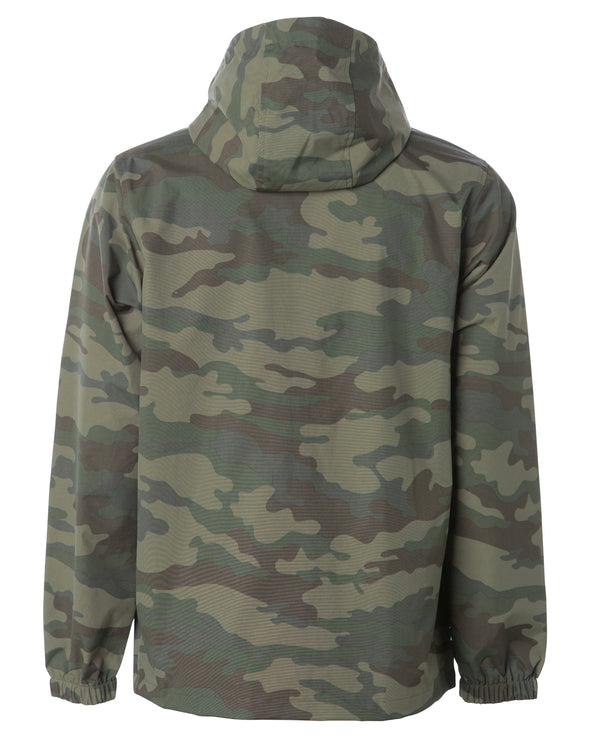 Back of a green camouflage rain jacket with a hood.
