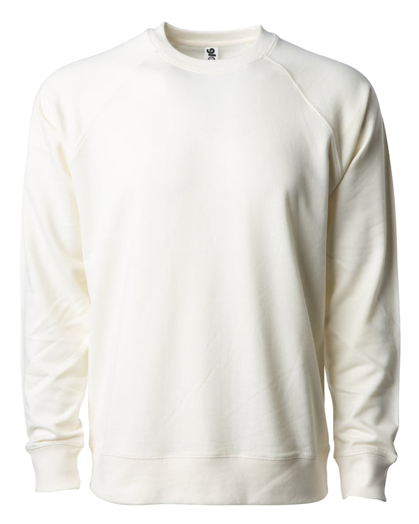 Front of an off-white french terry long sleeve crew neck sweater.