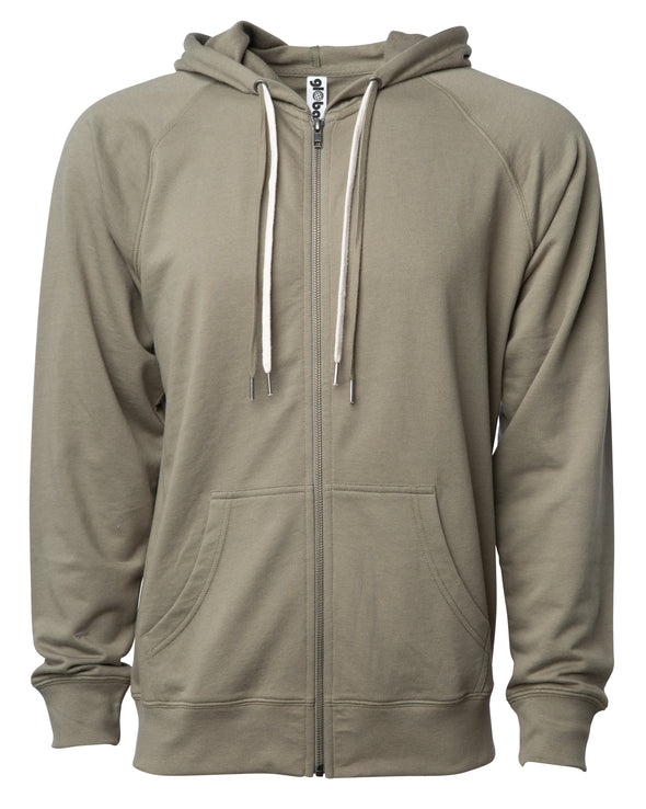 Front of an olive green french terry zip-up hoodie with a kangaroo pocket and two drawstrings.