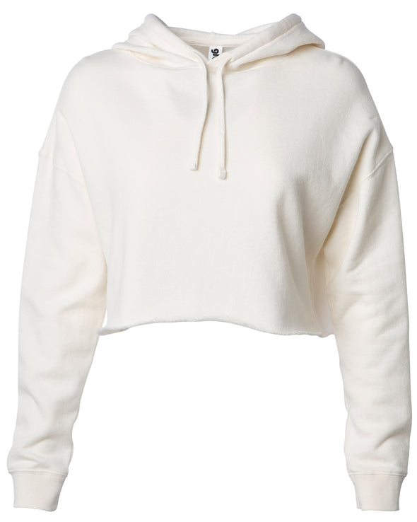 Front of a beige long sleeve crop top hoodie.