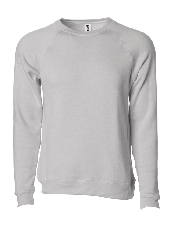 Front of a stone gray fleece long sleeve crew neck sweater.