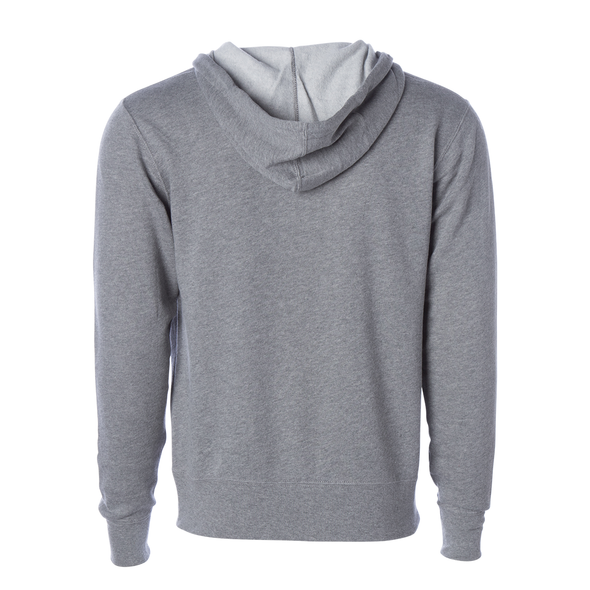 Back of a light gray zip-up fleece hoodie.