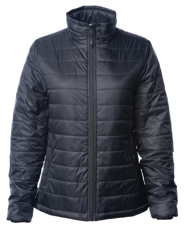 Front of a woman's black puffer jacket.
