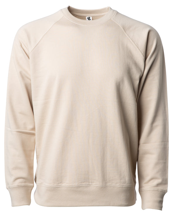 Front of a beige french terry long sleeve crew neck sweater.