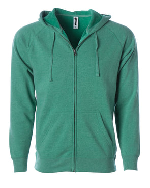 Front of a fleece sea green zip-up hoodie with front pockets and a drawstring.