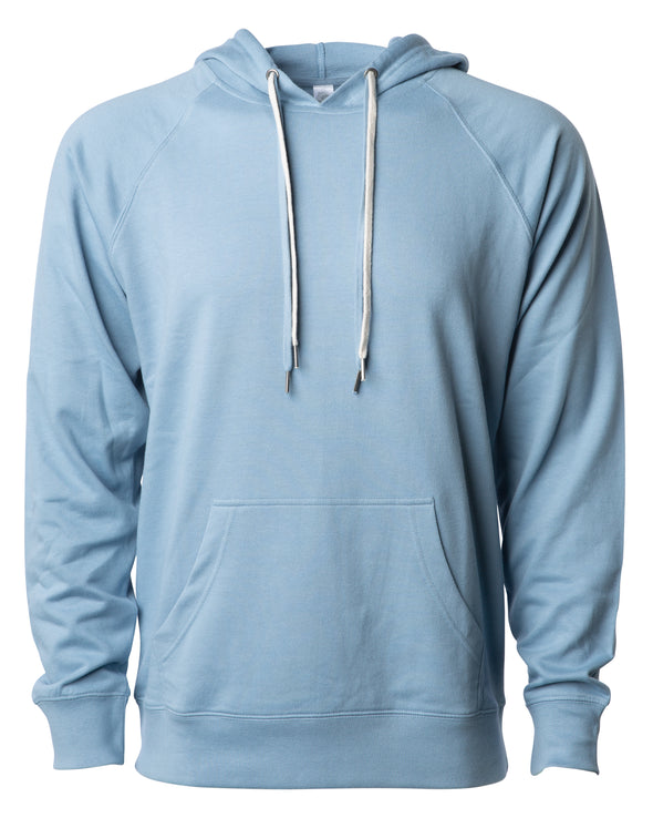 Front of a light blue french terry pullover hoodie with a kangaroo pocket and two drawstrings.
