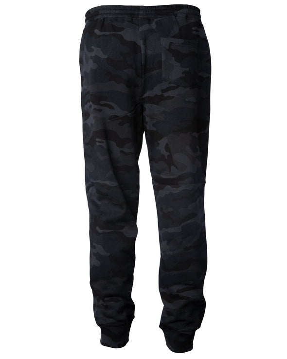 Back of black camouflage sweatpants with black drawstring waistband, cuffed ankles, and one back pocket.