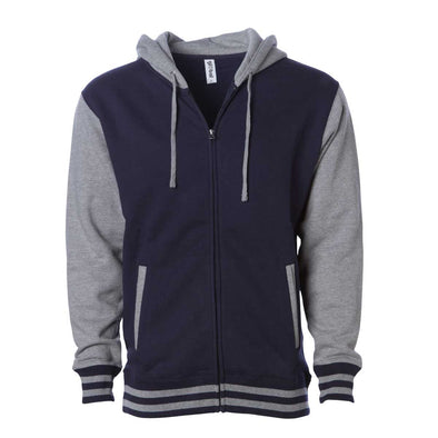 Front of a varsity style hoodie with a navy body and gray sleeves and hood.