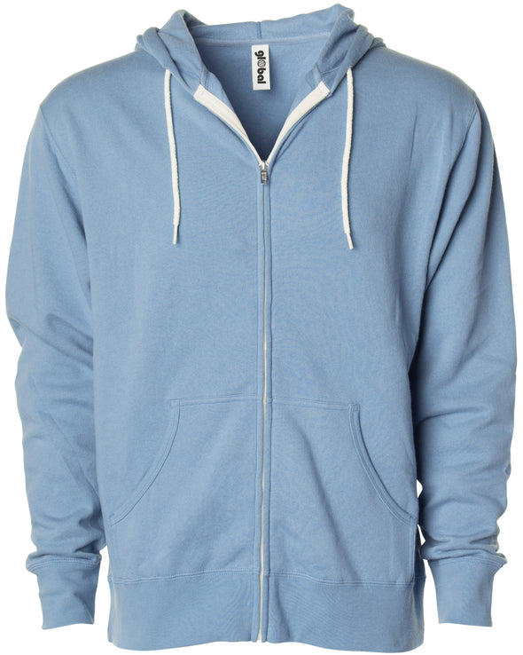 Front of a light blue zip-up fleece hoodie with front pockets and a white drawstring.