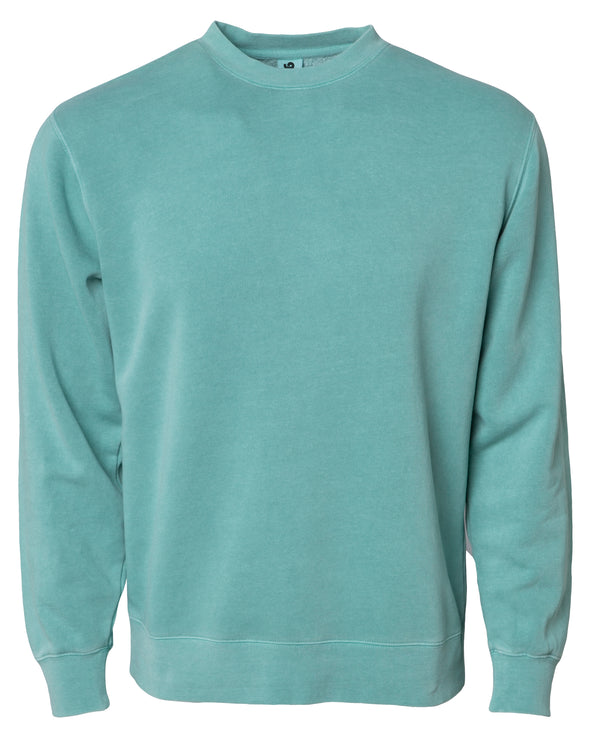 Front of a pastel mint green crew neck sweatshirt.