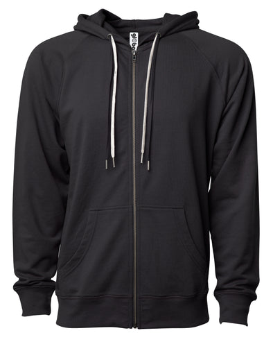 Front of a black french terry zip-up hoodie with a kangaroo pocket and two drawstrings.