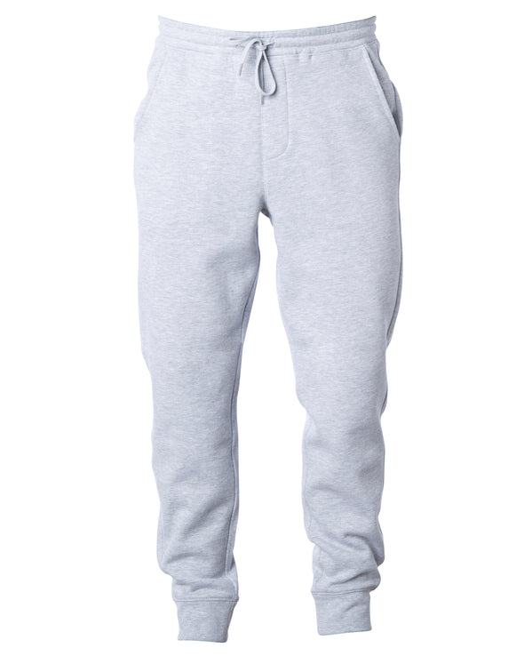 Front of heather gray sweatpants with black drawstring waistband and cuffed ankles.