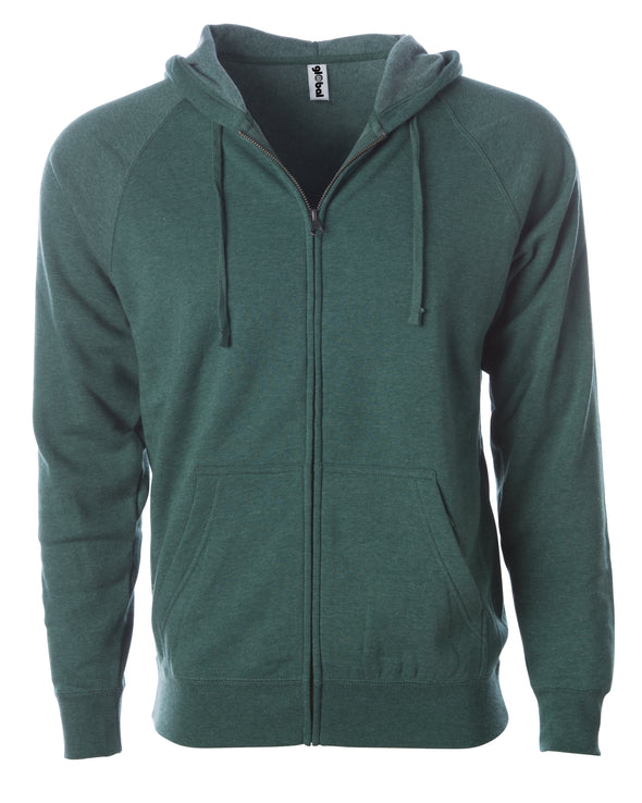 Front of a green fleece zip-up hoodie with front pockets and a drawstring.