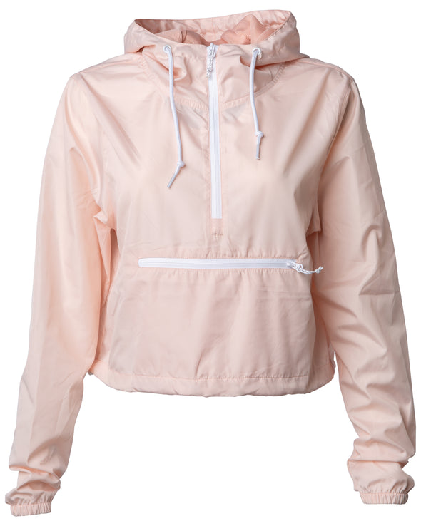 Front of a pink crop top windbreaker hoodie with a front zipper pouch. The windbreaker has white zippers and drawstrings.