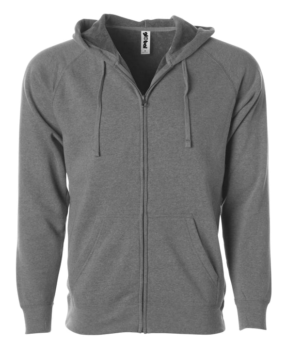 Front of a light gray fleece zip-up hoodie with front pockets and a drawstring.