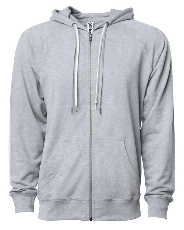 Front of a light gray french terry zip-up hoodie with a kangaroo pocket and two drawstrings.