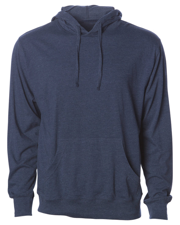 Front of a navy long sleeve t-shirt jersey hoodie with a matching drawstring and kangaroo pocket.