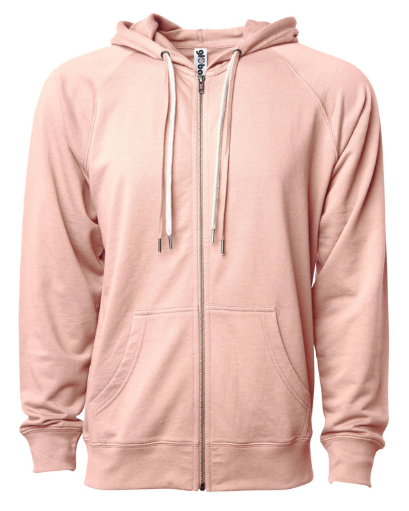 Front of a pink french terry zip-up hoodie with a kangaroo pocket and two drawstrings.