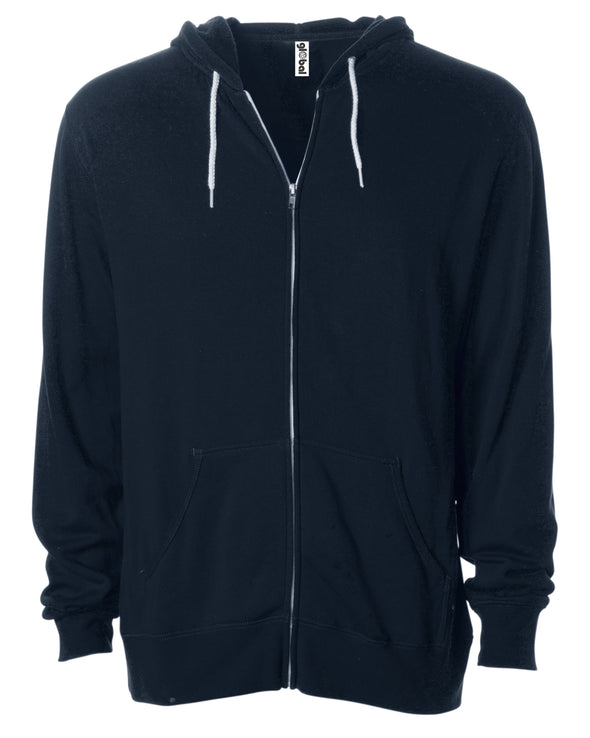 Front of a navy blue zip-up fleece hoodie with front pockets and a white drawstring.