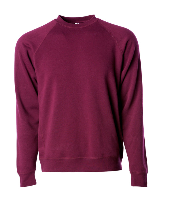 Front of a maroon fleece long sleeve crew neck sweater.
