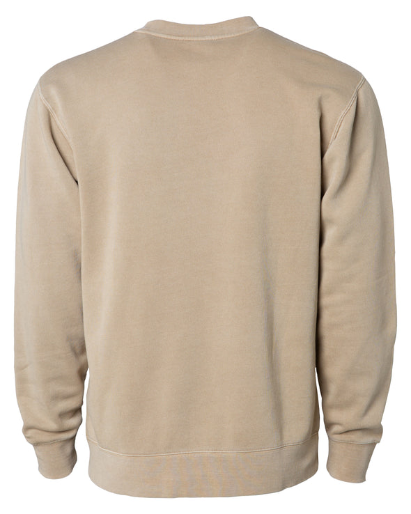 Back of a tan crew neck sweatshirt.