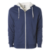 Front of a navy blue zip up sherpa lined hoodie with two drawstrings.
