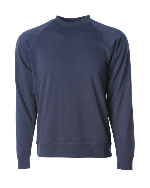 Front of a navy fleece long sleeve crew neck sweater.