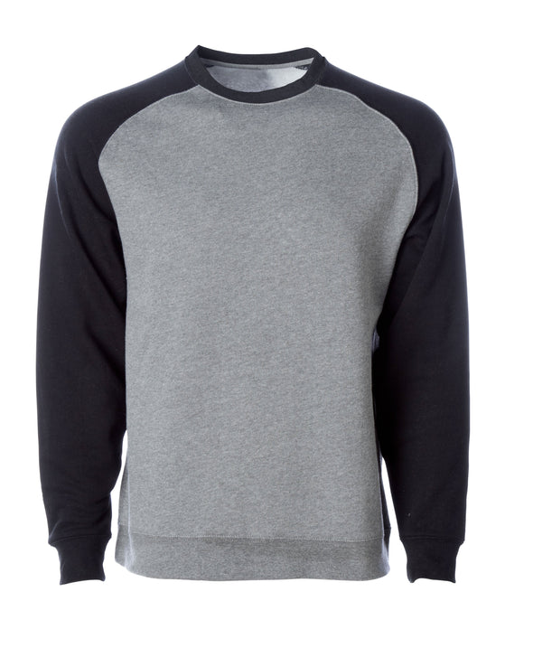 Front of a gray fleece crew neck sweater with black raglan sleeves..