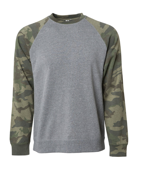 Front of a gray fleece crew neck sweater with green camouflage raglan sleeves..