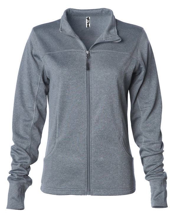 Front of gray zip-up yoga jacket with front pockets and thumb holes.