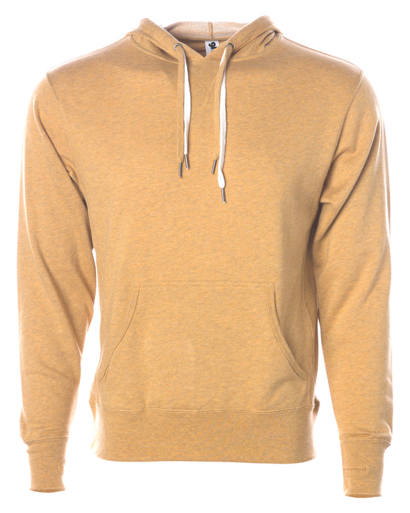 Front of golden yellow french terry pullover hoodie with a kangaroo pocket, two drawstrings, and thumbholes.