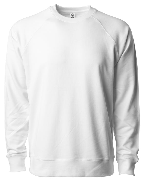 Front of a white french terry long sleeve crew neck sweater.