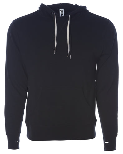 Front of black french terry pullover hoodie with a kangaroo pocket, two drawstrings, and thumbholes.