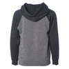 Back of a gray children's pullover hoodie with black sleeves and hood.