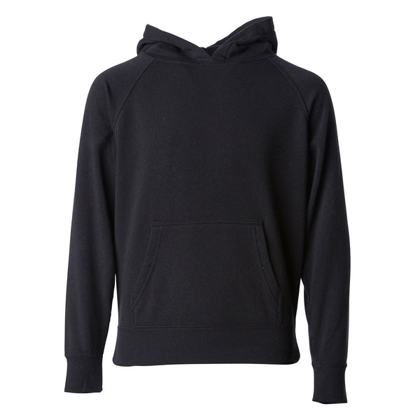 Front of a black children's pullover hoodie with a kangaroo pocket.