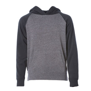 Front of a gray children's pullover hoodie with a kangaroo pocket, black sleeves and hood.
