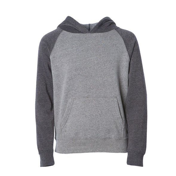 Front of a light gray children's pullover hoodie with a kangaroo pocket and dark gray sleeves and hood.