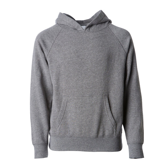 Front of a light gray children's pullover hoodie with a kangaroo pocket.