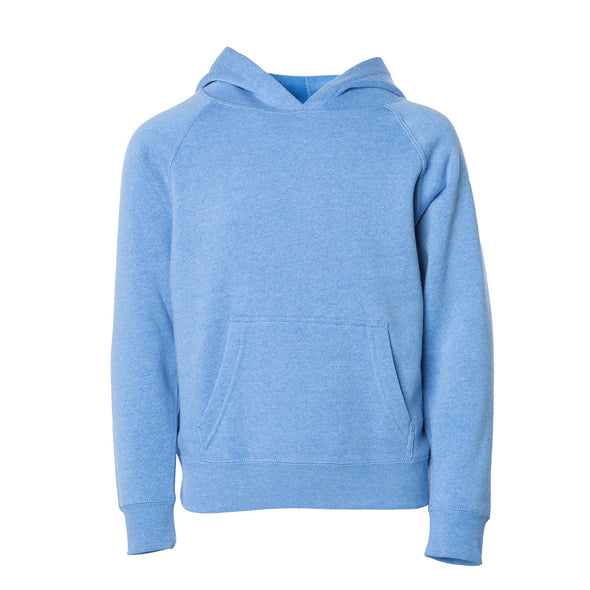 Front of a sky blue children's pullover hoodie with a kangaroo pocket.