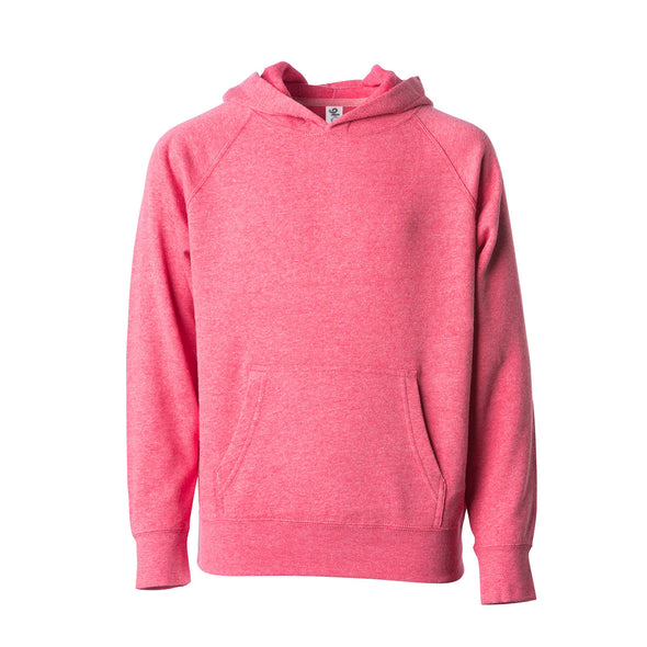 Front of a pomegranate pink children's pullover hoodie with a kangaroo pocket.