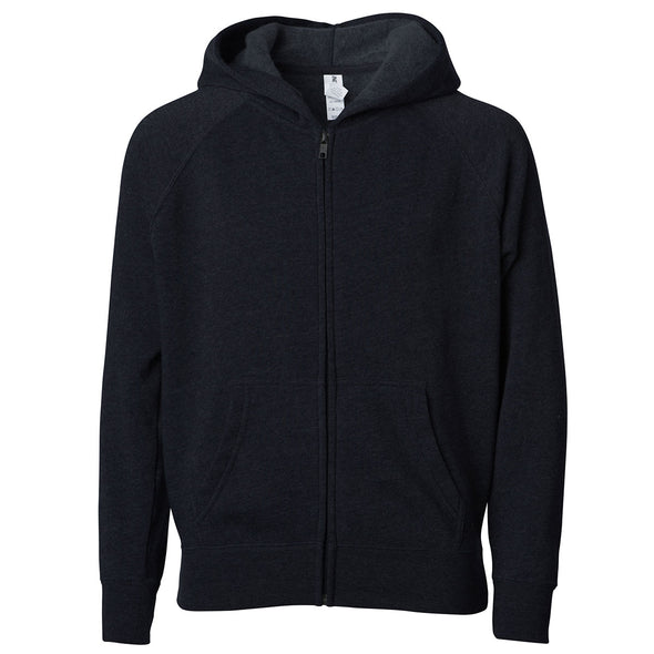 Front of a black children's zip-up hoodie with a kangaroo pocket.