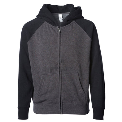 Front of a gray children's zip-up hoodie with a kangaroo pocket and black sleeves and hood.