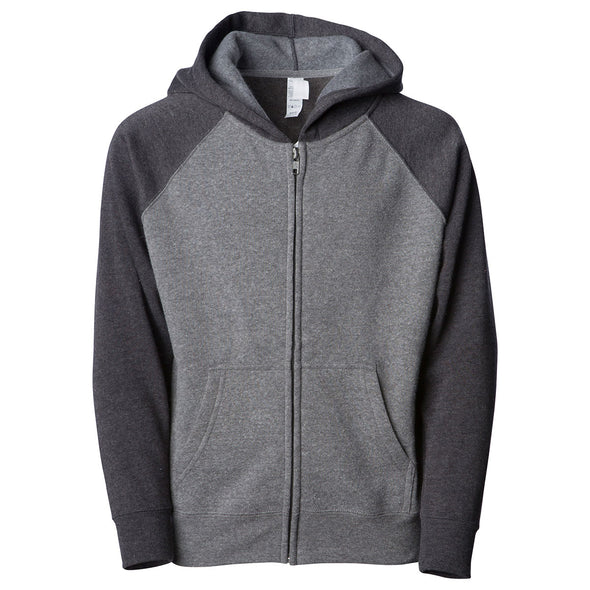 Front of a light gray children's zip-up hoodie with a kangaroo pocket and dark gray sleeves and hood.